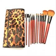 DOUYA De Brochas De Maquillaje 12 Pincel De Maquillaje Mango De Madera De Caoba Portátil Fibra De Dos Colores Con Cepillo De Leopardo Pu Set De Pinceles