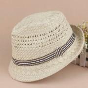de paja de de viaje para padres e hijos a prueba de sol trenzado de verano de ala ancha plegable de ganchillo gorra de Jazz rafia playa Sombrero LANG(#blanco)(#XS)