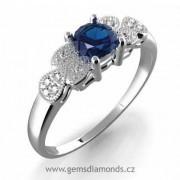 GEMS prsten s diamanty, modrý safír, bílé zlato, Michaela 386-0301
