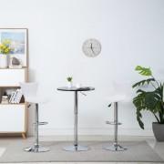 vidaXL Въртящи се бар столове, 2 бр, бели, изкуствена кожа