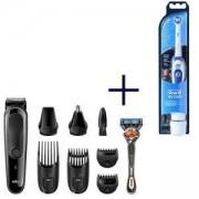 Тример за лице и коса Braun MGK3060, 8 в 1 + Самобръсначка Gillette + Електрическа четка за зъби Oral-B Pro-Expert