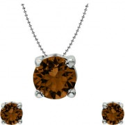 Mahi with Crystal Elements Brown Classic Solitaire Rhodium Plated Pendant Set for Women NL1104142RBro