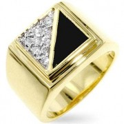 J Goodin Crystal & Black Enamel Men's Ring R06414T-C01