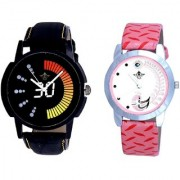Round Dial Black Yellow And Pink Peacock Couple Analogue Watch By Vivah Mart