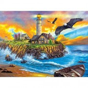 Sunset Cove Lighthouse 500pc Collector Puzzle By: Vivienne Chanelle