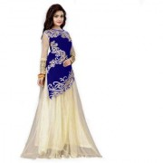 Designer Blue And Beige Colour Velvet Material Wedding Party Wear Lehengha choli For Women And Girls(JoyavelvetBlue)
