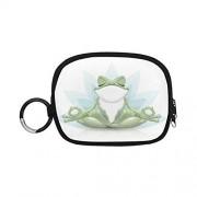 VNASKL Monedero llavero divertido rana de árbol meditación yoga rana niños monedero pequeño monedero cremallera con llavero anillo para niña mujer niños