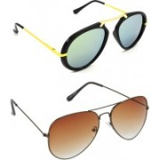 Hrinkar Clubmaster Sunglasses(Silver, Brown)