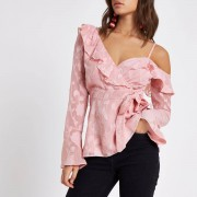 River Island Womens Pink jacquard cold shoulder wrap front blouse (Size 10)