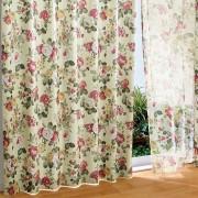 「アガサ」遮光カーテン&同柄ボイルセット レッド ドレープカーテン ベルーナ