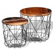 vidaXL Set măsuță de cafea rotunde 2 piese, 35 cm/45 cm, lemn reciclat