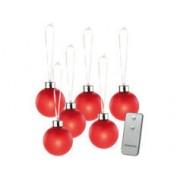 Lunartec 6 Boules de Noël lumineuses rouges avec télécommande