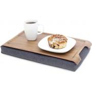 Bosign Laptray Mini (licht) Antislip, schootkussen, schoottafel, laptoptafel dienblad met kussen Walnoot met houten bovenblad - 43 x 23 x 6,5 cm