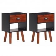 vidaXL Mesas cabeceira, madeira de acácia sólida 2 pcs 40x30x58 cm
