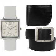 Crude Combo of Analog Black Dial Watch-rg727 With Black Leather Belt Wallet