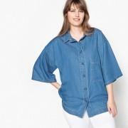 CASTALUNA Jeansbluse, zweifarbig, kurze Ärmel