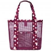 Bolsa De Playa Con Huecos De Color Solido E-Hot Para Mujer - Violeta