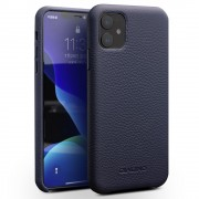 QIALINO Genuine Leather Litchi Texture Phone Back Cover Case for iPhone 11 6.1-inch - Dark Blue