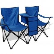 vidaXL Scaun de camping dublu, 155 x 47 x 84 cm, albastru