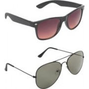 Abner Wayfarer, Aviator Sunglasses(Brown, Green)