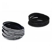 One- or Two-Piece Austrian Crystal Wrap Bracelets: Black-White/2-Pieces Black Crystals