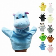 Honor2008 Newest Hot Sale Cute Big Size Animal Glove Puppet Hand Dolls Plush Toy Baby Child Zoo Farm Animal Hand Glove Puppet Finger Sack Plush Toy(Hippo)