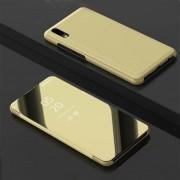 Huawei Galvaniseren spiegel horizontale Flip lederen case voor Huawei Y5 2019 met houder (goud)