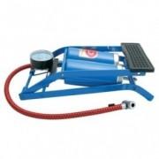 Pompa aer auto Carpoint de picior dubla cu 2 cilindri si manometru , 7 bar 100psi, model albastru