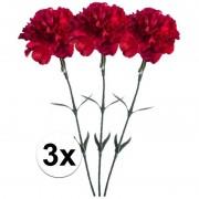 Bellatio flowers & plants 3x Rode Anjer kunstbloemen tak 65 cm