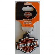"""Keychain - Harley Davidson Orange Bar Shield Rubber"""