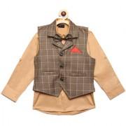 AJ Dezines Kids Party Wear Beige Color Shirt Waistcoat Set For Boys