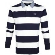 Gant Polo Poloshirt Rugger Blau Weiß Streifen - Dunkelblau Größe 3XL