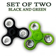 Fidget Spinner - Anti Anxiety Fidget Spinner Helps Focusing Fidget Toys [3D Figit] Premium Quality EDC Focus Toy for Kids & Adults - Best Stress Reducer Relieves Anxiety and Boredom Ceramic Cube Bearing - BLACK & GREEN By ART N SOUL