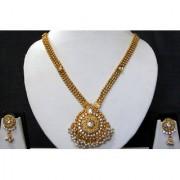 Golden Chain Round Pendant Stone Ghungaru Necklace Set