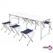 vidaXL Komplet 6 sklopivih stolica za kampiranje prilagodive visine