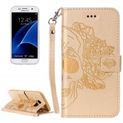 Para Samsung Galaxy S7 EDGE / G935 Cráneo Impresión Horizontal Flip Funda De Cuero Con Soporte Y Ranuras Para Tarjetas Y Billetera Y Lanyard (oro)