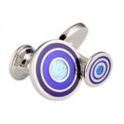 Mousie Bean Enamelled Cufflinks Target 039 Tonal Blue