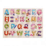 NUOLUX Wooden Peg Puzzles Board Alphabet Jigsaw Puzzle Toy ABC for Toddlers Preschool Educational Toys