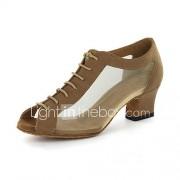Aanpasbare Vrouwen kunstleer bovenste moderne dans schoenen sandalen met Veterschoenen