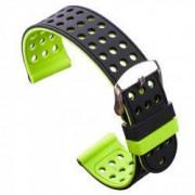 Curea silicon cu doua fete compatibila cu Smartwatch 24mm Negru/Verde