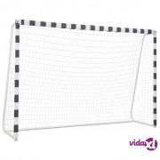 vidaXL Nogometni gol 300 x 200 x 90 cm metalni crno-bijeli