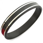 ZIVOM Stainless Steel Red Oval Free Size Kada Stylish Bracelet Men