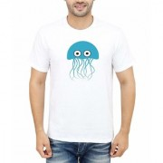 DOUBLE F ROUND NECK HALF SLEEVE WHITE COLOR WILD PRINTED T-SHIRTS