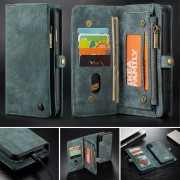 CASEME Vintage Split Leather Detachable 2-in-1 Multi-slot Wallet Shell for iPhone Xs Max 6.5-inch - Blue