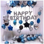 Happy Birthday Letter Foil Balloon Set of Silver + Pack of 30 HD Metallic Balloons (Black Blue and Silver)