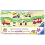 Puzzle Din Lemn Cu Vehicule, 5 Piese Ravensburger