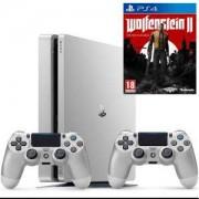 Конзола PlayStation 4 Slim, 500GB, Два геймпада, Сребрист+Игра Wolfenstein II: The New Colossus