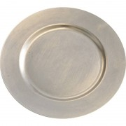 Bellatio Decorations 2x Diner onderborden zilver glimmend 33 cm rond