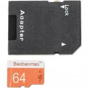 ER 64GB Tarjeta De Memoria Secure Digital De Alta Velocidad Con Adaptador TF Cámara Teléfono -Naranja