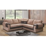 Tango Jumbo Cord 2C2 Symmetrical Corner Sofa Suite - Black/Grey or Beige/Brown - Beige/Brown